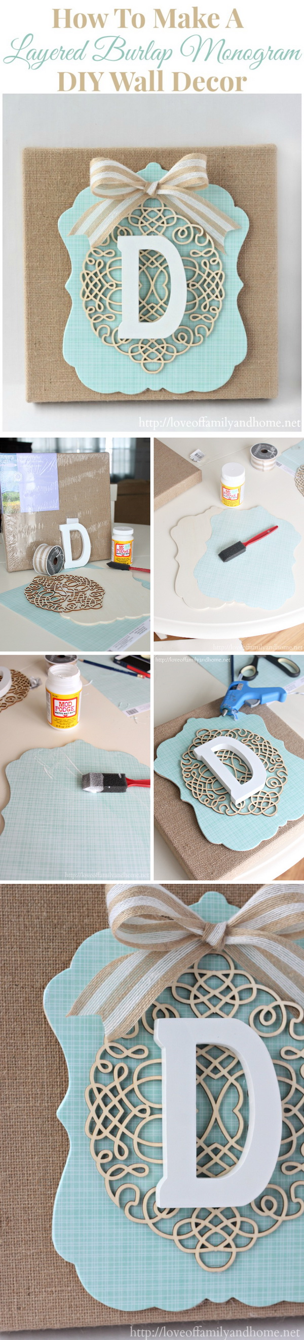DIY Burlap Monogram Wall Art.