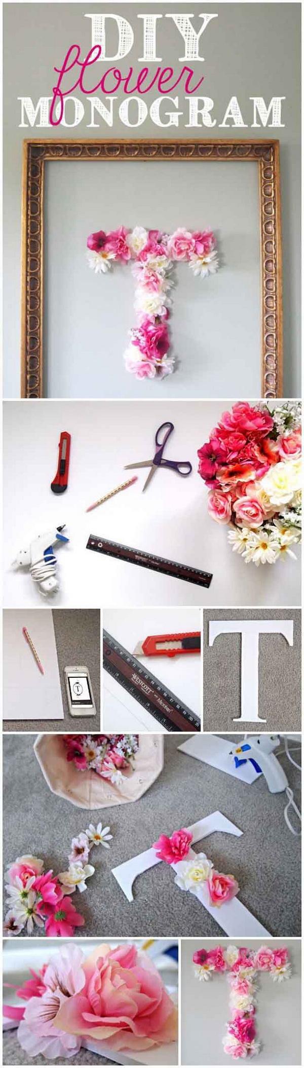 DIY Flower Monogram Wall Art.
