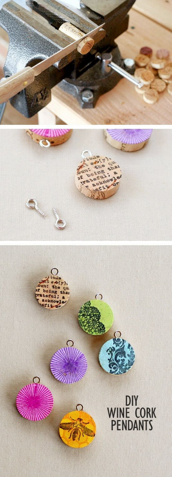DIY Wine Cork Pendants.