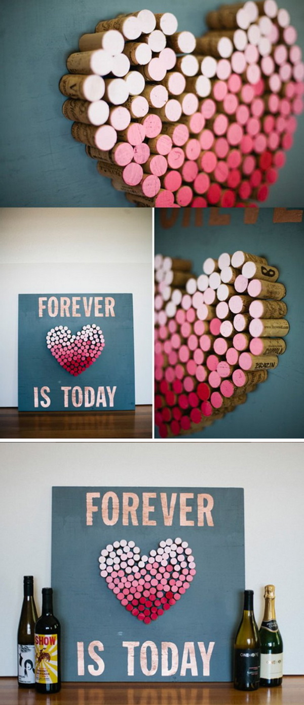 DIY Ombre Cork Heart.