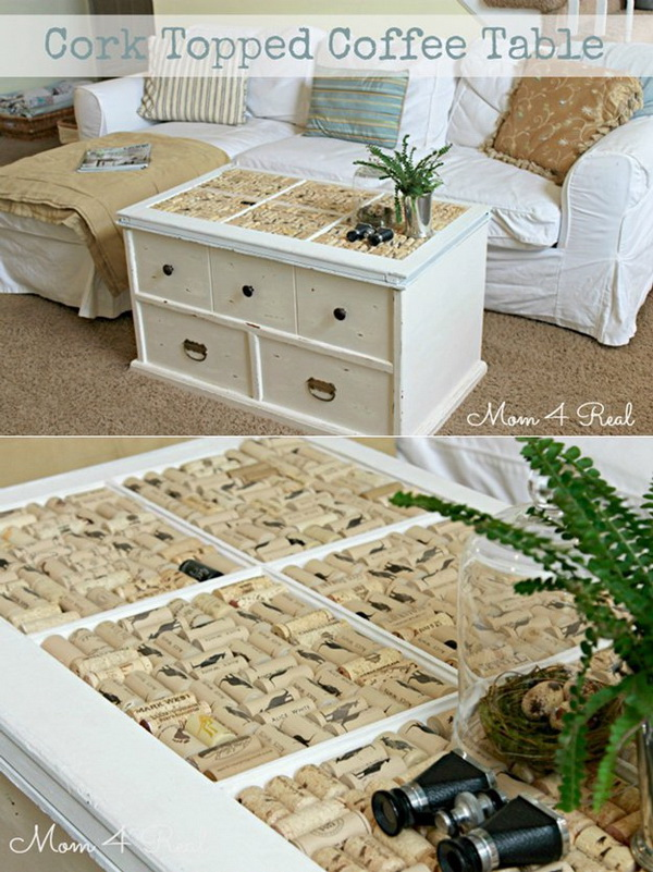 Wine Cork Topped Coffee Table.