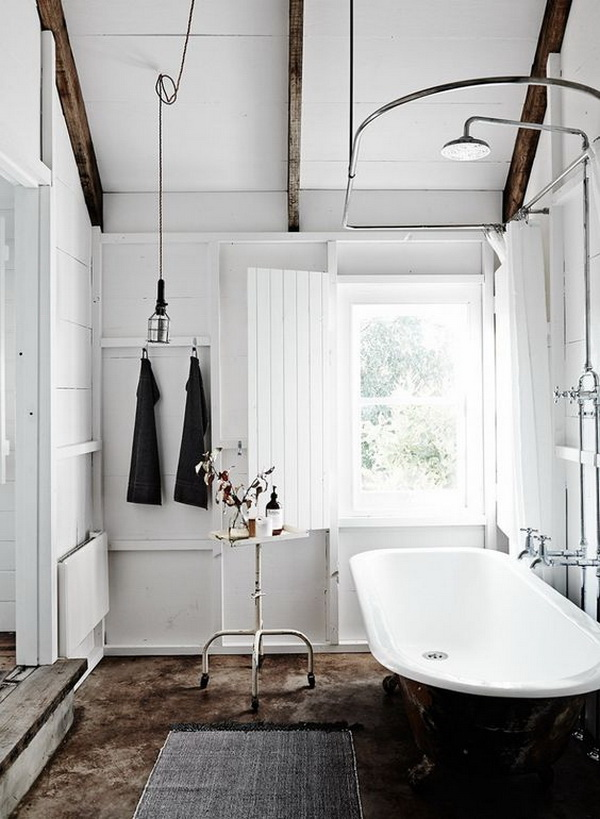 Bright modern farmhouse bathroom interior design.
