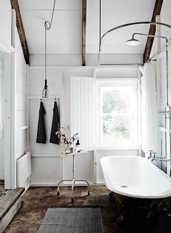 Lovely Bright Modern Farmhouse Bathroom Interior Design.