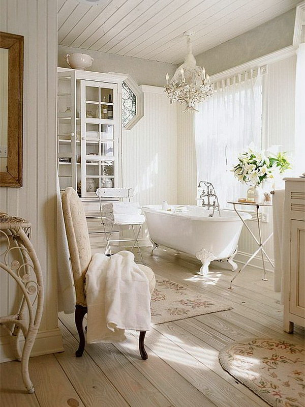 White farmhouse bathroom with oak plank flooring.