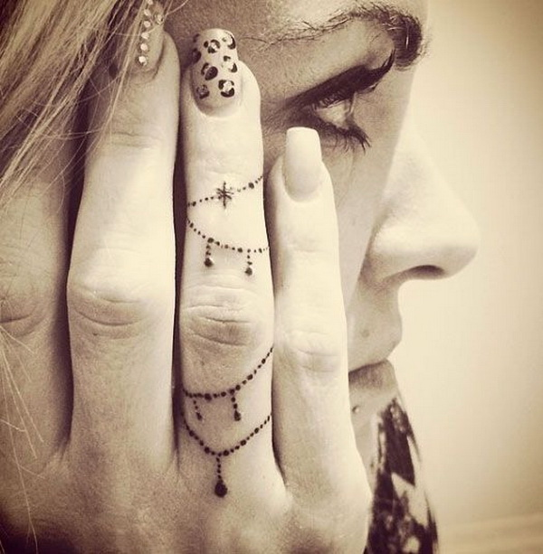 Decorative Chain Finger Tattoo Design.