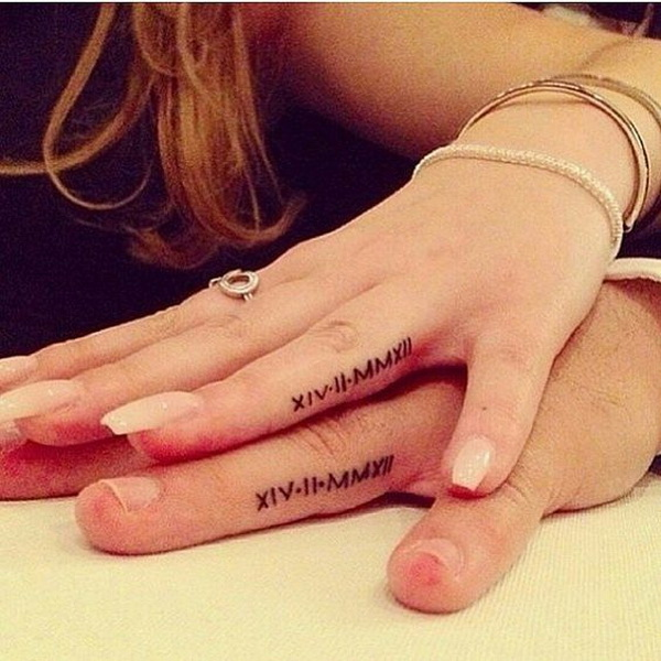 Couples Finger Tattoo with Birthday Dates.