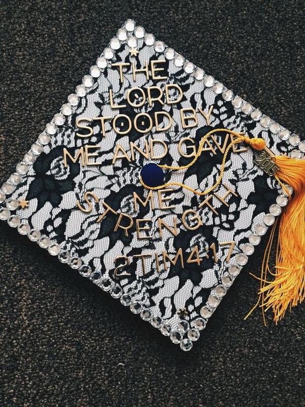 Stylish Graduation Cap with Black Lace. 30+ Awesome Graduation Cap Decoration Ideas.