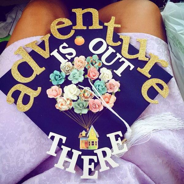 Adventure Is Out There Floral Graduation Cap. 30+ Awesome Graduation Cap Decoration Ideas.