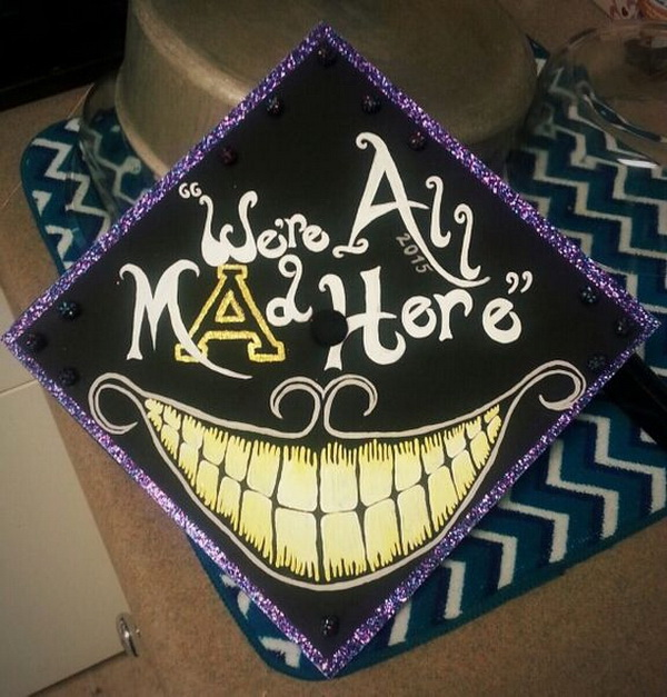 Alice in Wonderland Graduation Cap .
