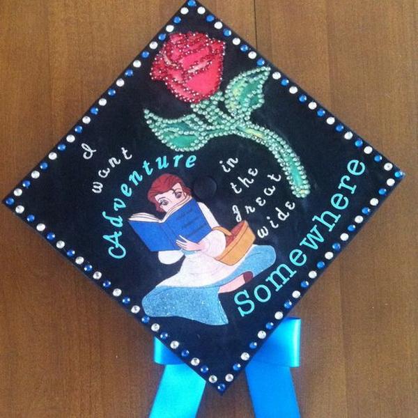 beauty and the beast themed graduation cap 30 awesome graduation cap decoration ideas - Graduation Cap Decoration Ideas