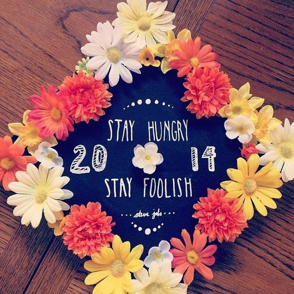 Fresh Flowers Decorated Graduation Cap---40+ Awesome Graduation Cap Ideas.