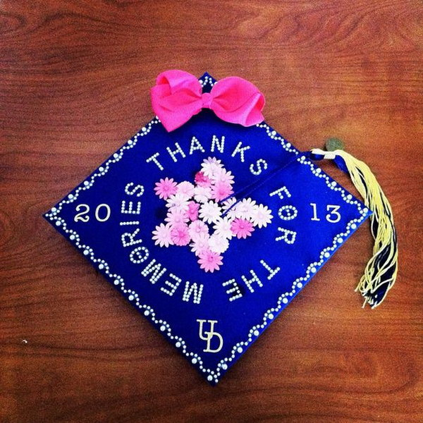Thanks For The Memories Graduation Cap with Flowers in Center---40+ Awesome Graduation Cap Ideas.
