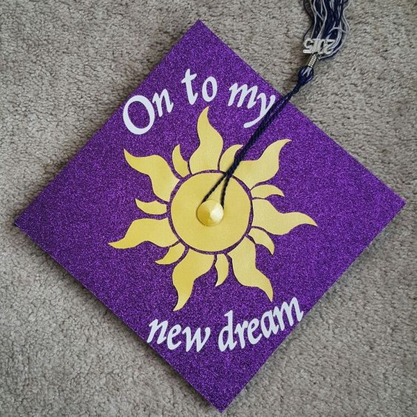Disneys Tangled Inspired Graduation Cap---40+ Awesome Graduation Cap Ideas.