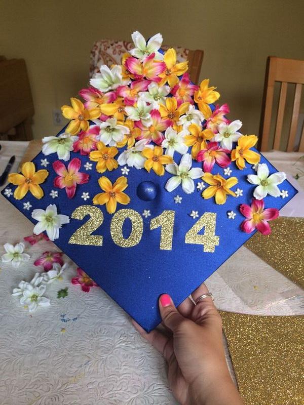Beautiful Blooming Flowers Graduation Cap---40+ Awesome Graduation Cap Ideas.