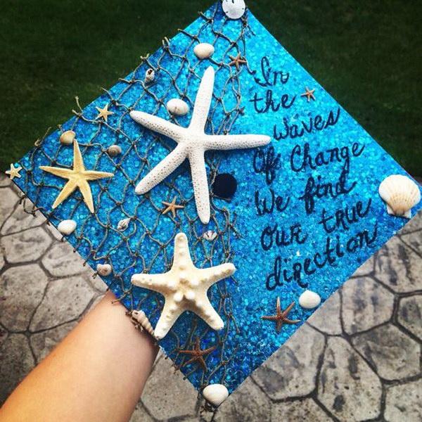 Ocean Themed Graduation Cap---40+ Awesome Graduation Cap Ideas.