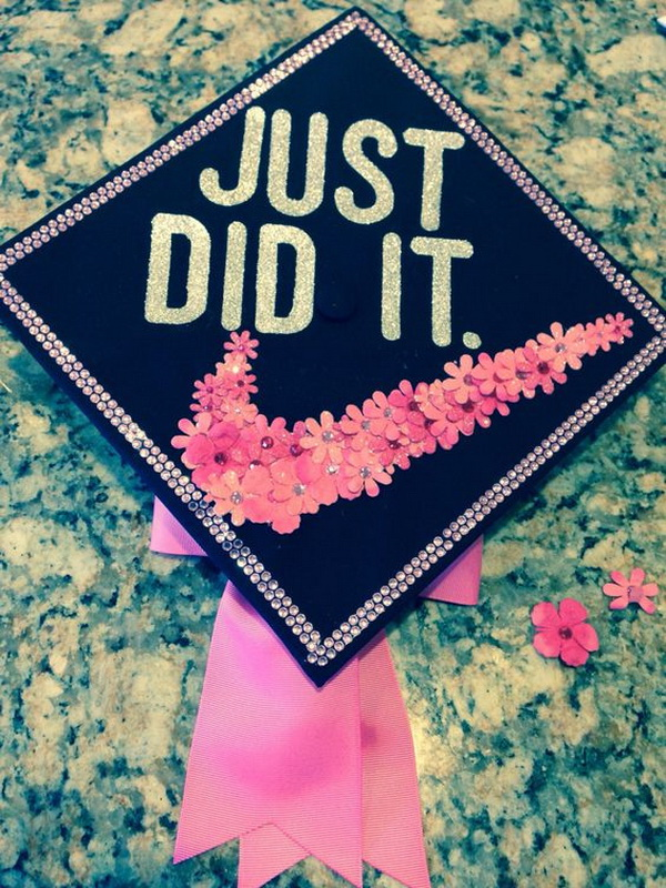 Cute Graduation Cap with A Floral Check Mark---40+ Awesome Graduation Cap Ideas.