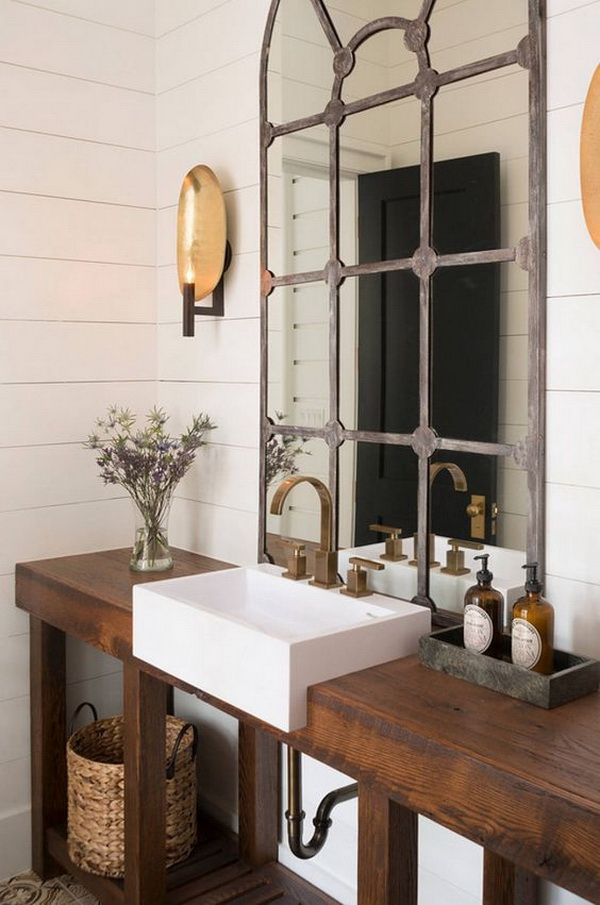 Rustic Powder Room with Wooden Washstand.