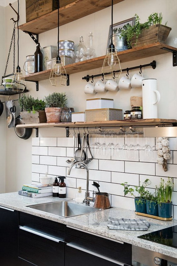 Wooden Kitchen Open Shelves.