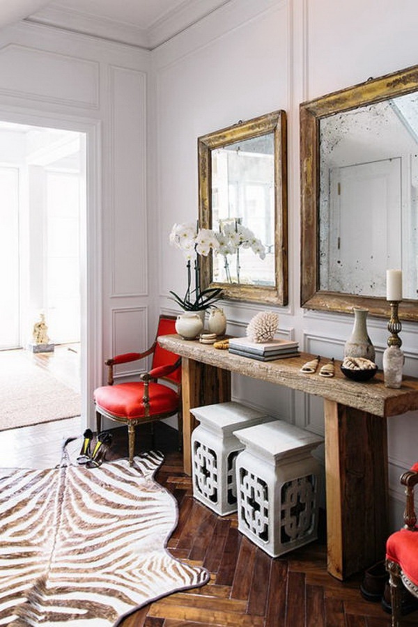 Bright Color in Neutral Rustic Room.