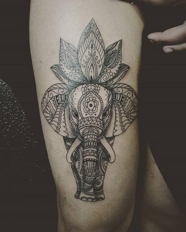Impresionante diseño de tatuaje de loto y elefante para hombres.