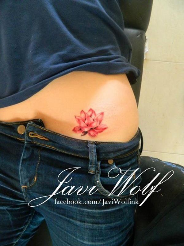 Red Lotus Flower Tattoo Deisgn for Women.
