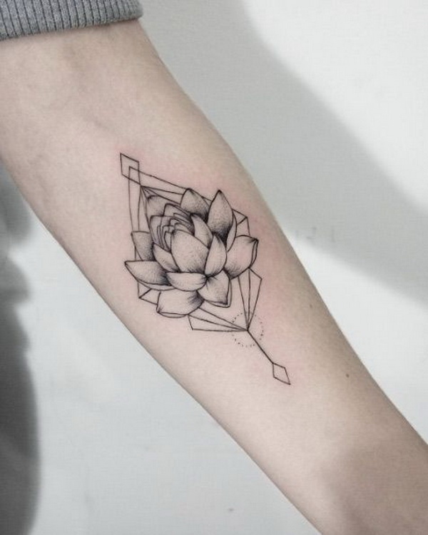 Gray Lotus Flower Tattoo on Forearm.