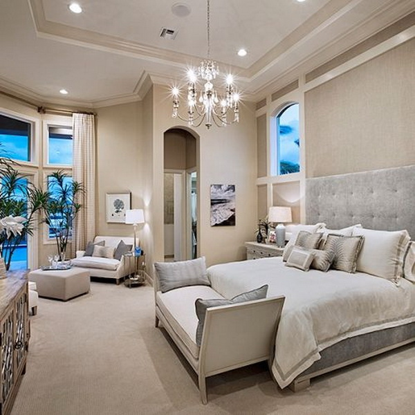 Luxurious master bedroom interior design.