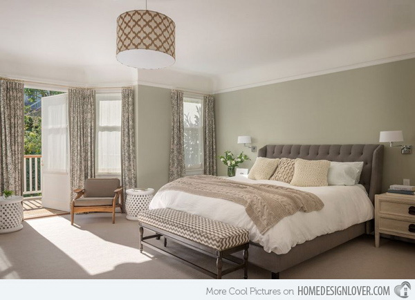 Sweet olive walls paired with bluish-grays on the furniture for master bedroom interior design.