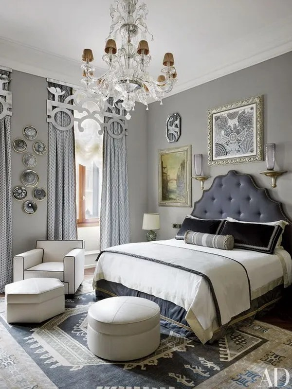 darker gray painted master bedroom