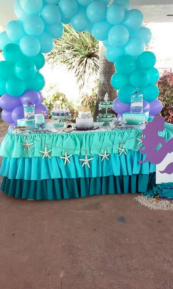 Mermaid Birthday Party Balloon Arch.