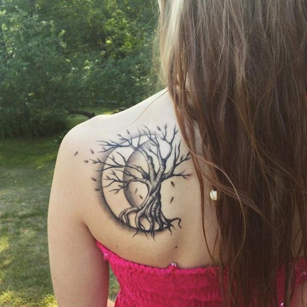 Tree Tattoo with Crescent Moon on Back Shoulder.