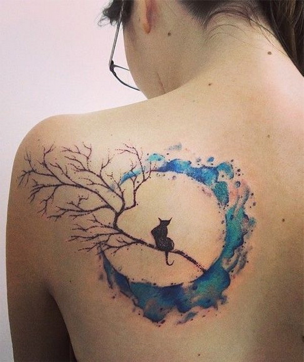 Beautiful Cat And Moon Watercolor Tattoos On Back.