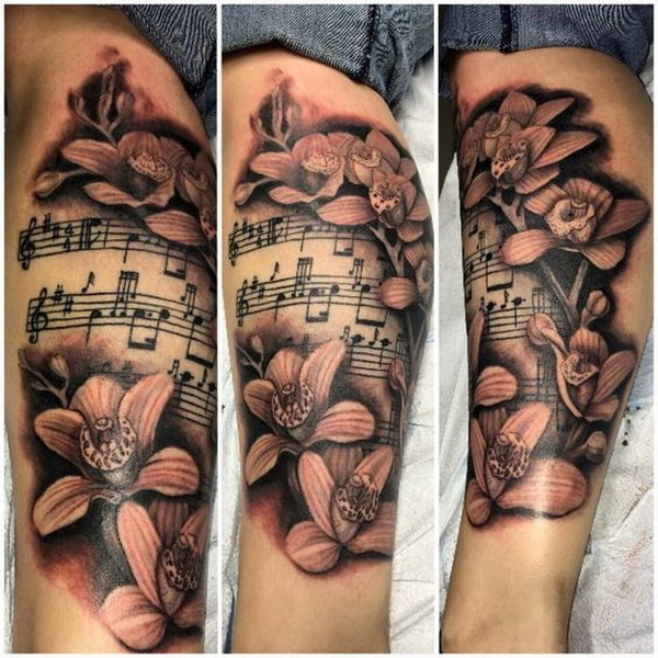 Orchid, Sheet Music Tattoo.