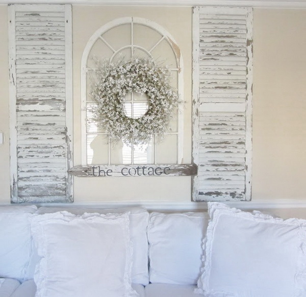 Shabby Chic Mantel Decoration with Old Windows.