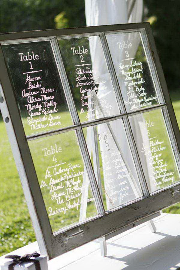 Unique Seating Chart Made with Old Window.
