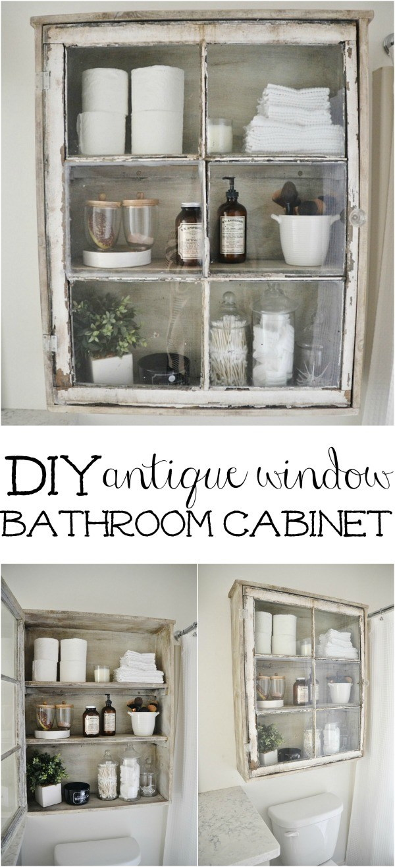 DIY Bathroom Cabinet with Old Windows.
