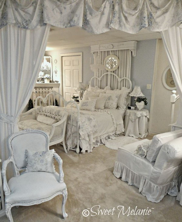 Pale Blue Romantic Bedroom Furnishings.