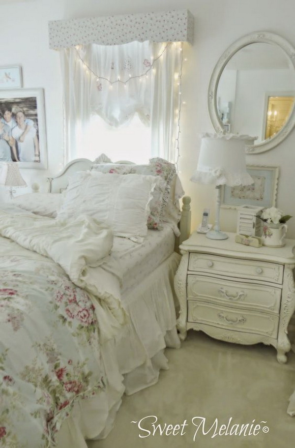 romantic shabby chic bedroom with fairy lights over headboard and whitewashed nightstand - Shabby Chic Bedroom Decorating Ideas