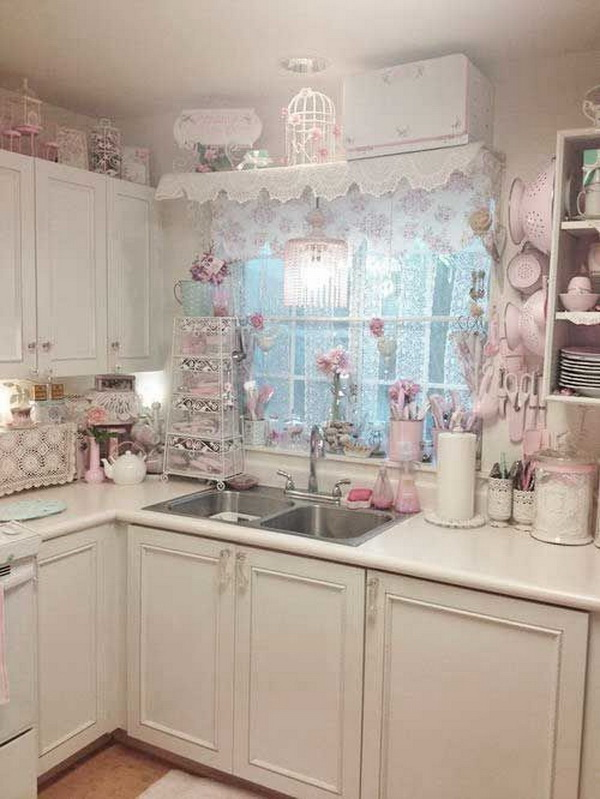 Girly Pink Shabby Chic Kitchen Decor.