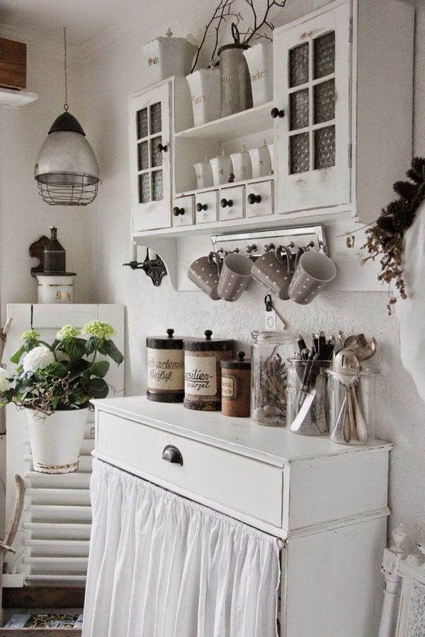 Whitewashed Coffee Bar in the Kitchen.