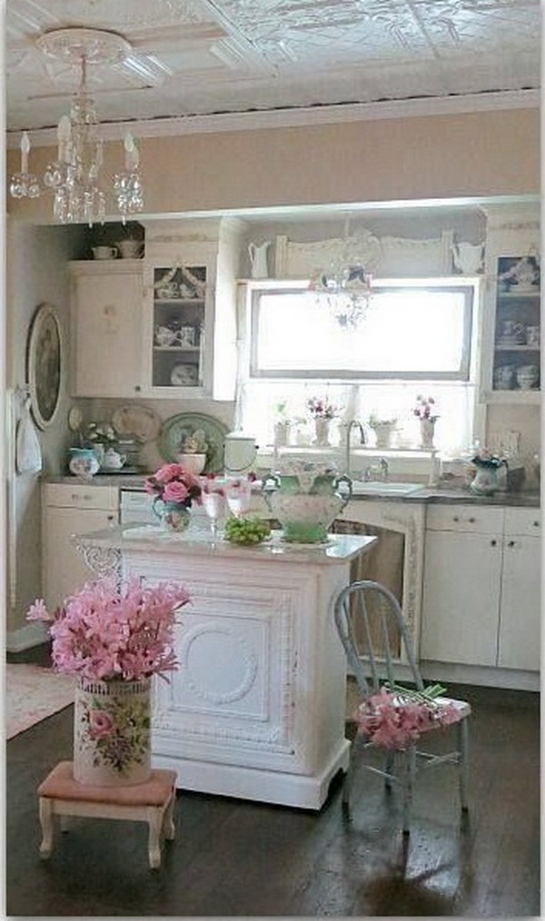 Feminine Shabby Chic Kitchen Decor With Island