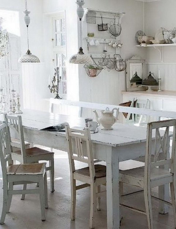 White Shabby Chic Kitchen Table.