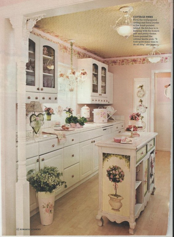Vintage Shabby Chic Pink Kitchen.