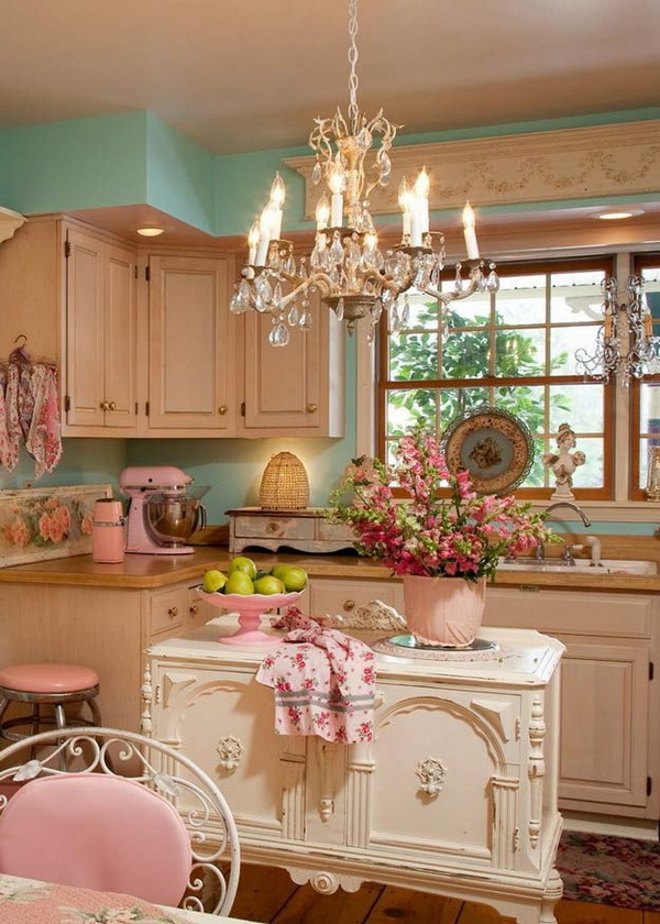 Pastel Shabby Chic Kitchen with a Gorgeous Chandelier.