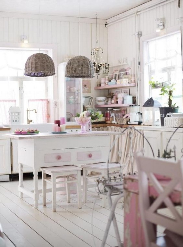 Romantic Pink and White Shabby Chic Kitchen.