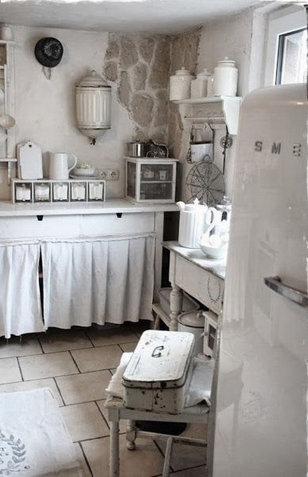 White Theme Shabby Chic Kitchen with Aging Old Wood Furniture and the clever hideaway Curtain.