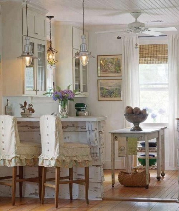 Pretty Vintage Lantern Light over the Breakfast Bar.