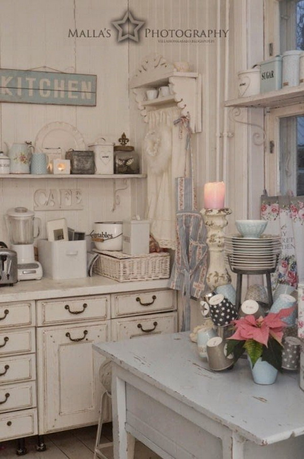 35 awesome shabby chic kitchen designs accessories and decor ideas for creative juice. Black Bedroom Furniture Sets. Home Design Ideas