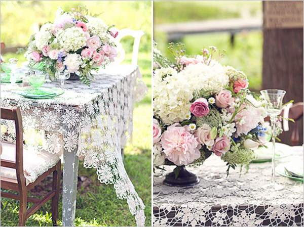 Vintage Lace and Floral Table Decoration.