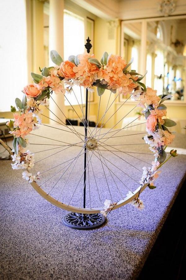 Shabby Chic Wedding Bike Rim Wreath.